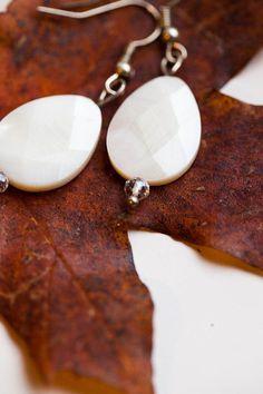 White Shell Bead Drop Handmade Earrings