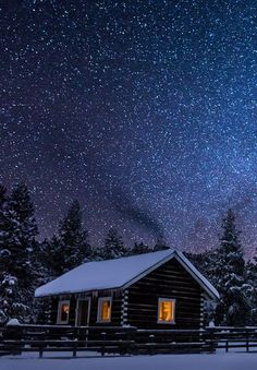 Winter's Night, Big Sky, Montana photo via martina