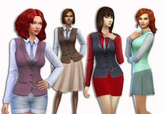 The Sims 4 | My Stuff: Base Game Criminal Career Mob Boss Top Separated | CAS clothing female adult everyday formal party