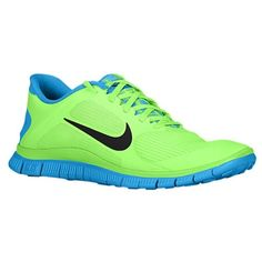 Nike Free 4.0 V3 - Mens - Flash Lime/Black/Blue Hero from Eastbay