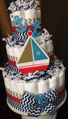 Nautical Diaper Cake, Navy And Gold Baby Shower, Nautical Baby Shower  Decoration, New