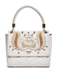 Alessia Embroidered Top Handle Flap Bag at Guess Crossbody Shoulder Bag, Shoulder Handbags, Crossbody Bag, Leather Purses, Leather Handbags, Designer Messenger Bags, Satchel Handbags, Women's Handbags, Canvas Shoulder Bag