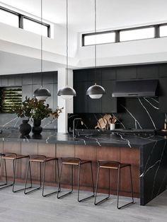 Luxury Kitchen Design, Interior Design Kitchen, Modern Kitchen Interiors, Contemporary Kitchens, Modern Kitchens, Small Kitchens, Contemporary Bedroom, Kitchen Designs, Black Kitchens