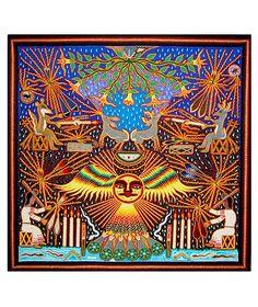 Arte huichol | Tablas de estambre 97 x 97 cms | Pintura indigena | Cuadros de estambre