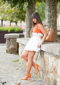 ORANGE DRESS 8-9-2014 #kissmylook Vestido: Poppop (Modelo Sara) Zapatos y Bolso: Zara