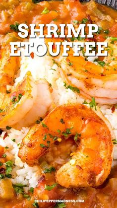 This shrimp etouffee recipe is pure Louisiana heaven with succulent shrimp smothered in a rich and flavorful tomato sauce with lots of seasonings, served over rice. Get ready for a great meal! #cajun #creole #spicyfood Cajun Shrimp Recipes, Spicy Chicken Recipes, Shrimp Recipes For Dinner, Prawn Recipes, Fish Recipes, Seafood Recipes, Cooking Recipes, Etouffee Recipe, Shrimp Etouffee