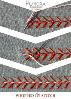 Pumora's embroidery stitch-lexicon: the whipped fly stitch                                                                                                                                                                                 More