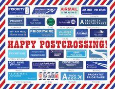 11 Postcrossing Airmail Postcards von RowesAndColumns