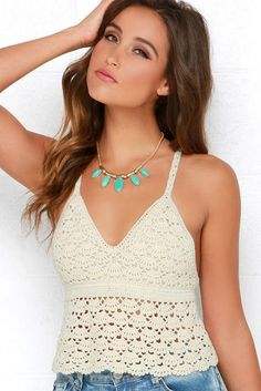55 Most popular and Amazing Crochet Top Pattern Ideas of 2019 and 2020 Part crochet tops free patterns; Crochet Top Outfit, Crochet Bikini Top, Crochet Clothes, Débardeurs Au Crochet, Crochet Woman, Crochet Tank Tops, Crochet Shirt, Minimalist Outfit, Moda Retro