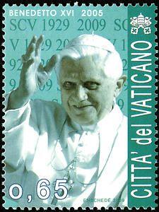 65c Benedict XVI single Vatican postage stamp - Pope Benedict XVI served from 2005-2013