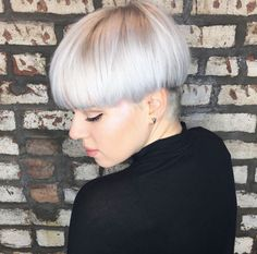 Icy blonde bowl cut by Taylor Meyers