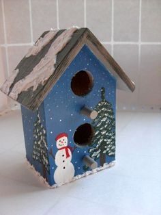 Christmas Snowman Birdhouse  Snowman and spruce starry by DabHands, $15.00