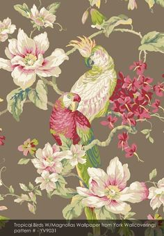 Tropical Birds W/Magnolias wallpaper from York Wallcoverings