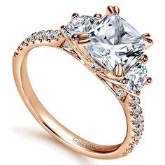 Gabriel & Co. - 14k Pink Gold Cushion Cut Diamond Three (3) Stones Engagement Ring.