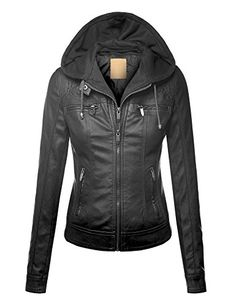 LL WJC1049 Womens Faux Leather Removable Hoodie Moto Jack...