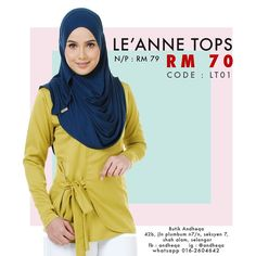 LEANNE tops available now! . . Code: LT01 . Normal price : RM79 Promo price : RM70 . Material : valentro satin Size available : S  M  L . Nursing friendly Wudhu easy . Online order Whatsapp 6016.2604642  #LEANNEtops #LEANNEmeasurement #andheqashahalam