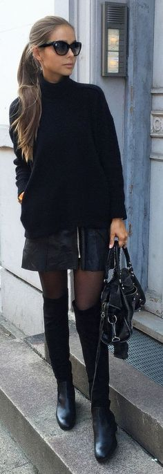 Edgy black look | Turtle neck black sweater, leather zipped skirt, tights and over the knee boots