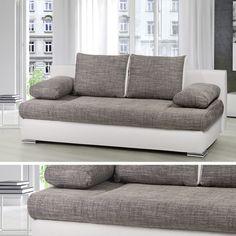 Design Schlafsofa ORLANDO Federkern mit Bettkasten Schlafcouch Sofa Couch grau | eBay