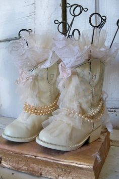 Shabby chic cowboy boots decor childrens size by AnitaSperoDesign, $155.00