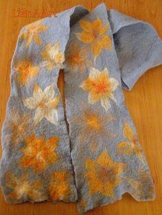 Felt scarf ORANGE FLOWERS GARDEN of merino wool by LanAArt
