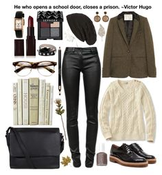 """Collegiate"" by gokarm ❤ liked on Polyvore featuring Aubin & Wills, T By Alexander Wang, Dries Van Noten, Cara, Marc by Marc Jacobs, Kate Spade, Laura Mercier, Sephora Collection, Essie and Crate and Barrel"