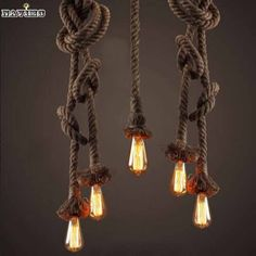 Retro Vintage Rope Pendant Light Lamp Loft Creative Personality Industrial Lamp Edison Bulb American Style For Living Room Stair Chandelier In Living Room, Rustic Chandelier, Living Room Lighting, Plug In Pendant Light, Pendant Lighting, Pendant Lamp, Edison Lampe, Retro Vintage, Living Room Restaurant