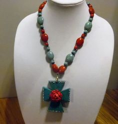Gypsy Cowgirl Chic Turquoise Cross Red Rose Statement Necklace AB Crystals OOAK…