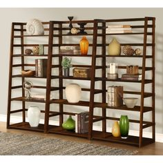 Simpli Home Bookcases Acadian 5-Shelf Ladder Bookcase in Tobacco Brown Dark tobacco brown stain finish with protective NC lacquer finish AXSS008KD