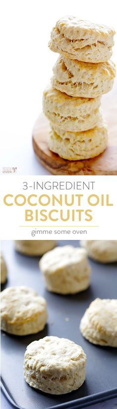 3-Ingredient Coconut Oil Biscuits -- simple to make, naturally vegan, and so tasty! | http://gimmesomeoven.com
