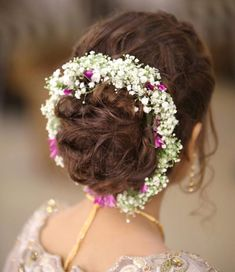 We cannot wait to try out this beautiful floral updo by 🌸🌺✨ Bridal Hairstyle Indian Wedding, Bridal Hair Buns, Indian Bridal Hairstyles, Bride Hairstyles, Messy Hairstyles, Hairstyle Ideas, Bridal Flowers, Flowers In Hair, Engagement Hairstyles