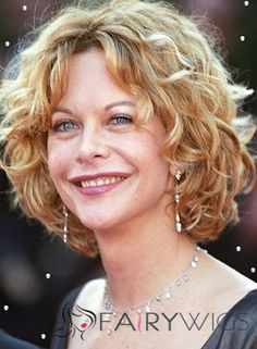 Meg Ryan would look good in any hair style. She is a great stylist women. Meg Ryan with short curly hair style with golden blonde hair from . Meg Ryan Hairstyles, Short Curly Hairstyles For Women, Curly Hair Styles, Curly Hair Cuts, Hairstyles For Round Faces, Short Hair Cuts, Cool Hairstyles, Curly Short, Curly Bob