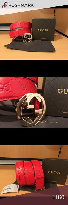Authentic Men Gucci Belt Red Guccisima • 100% Authentic • Handcrafted in Italy 🇮🇹  • Sizing is easy, just pick the size you wear in jeans • All orders shipped in 1 business day! 📦  *Please send all respectable offers!! BUNDLE to save 💰* Gucci Accessories Belts