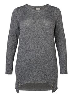 LONG SLEEVED GLITTER EFFECT KNITTED PULLOVER, Silver