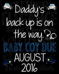 Police Officer Themed Pregnancy Announcement Chalkboard- Baby Reveal- Photo Prop- Daddy's Backup- Parents To Be by SouthernElegancePE on Etsy