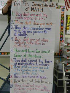 The Ten Commandments of Math Anchor Chart