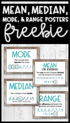 These free mean, median, mode, and range posters are a great visual for any 6th grade math classroom.  The vocabulary posters include definitions and examples for determining each term.  Awesome anchor chart alternative! #meanmedianmode #statistics #math