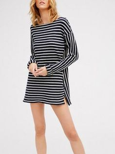 Black Stripe Print Split Side Pocket Dress - MYNYstyle - 1