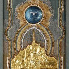 Antonia Miller and Barbara Ryman - As Above so Below: a Night Pilgrimage at Mont St Michel, gold and metal threads on silk with river pearls, beads, metal gilded with 23 karat gold and a central dome enameled by Barbara Ryman $1,450