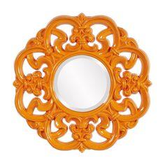 "Howard Elliott Coco Ornate Orange Mirror 24"" Diameter x 1"""