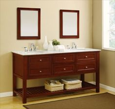 Bathroom Cabinets Double Sink bathroom double sinks w/ makeup counter. like center counter idea