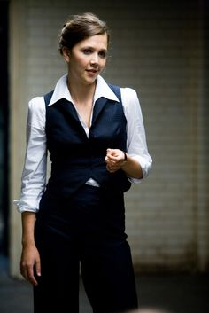 Maggie Gyllenhaal's lady suit in the Dark Knight.