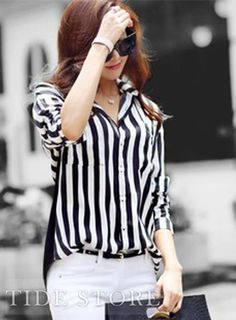 11.99 Fashion New Arrival Casual Korean Style Loose  Striped Blouse