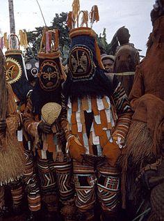 Igbo masqueraders during yam festival 'Onwasato' in Ugwuoba, between Awka and Enugu, South East Nigeria.