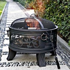 "Granada 26"" Circular Steel Fire Pit Outdoor Cooking Fire Bronze"