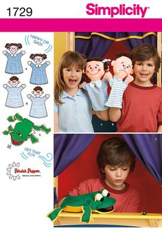 Simplicity 1729 Out Of Print  Patterns to make three different hand puppets: Girl, boy and frog. See video tab to watch these adorable puppets in action! Simplicity crafts sewing pattern.