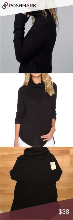 FREE PEOPLE Kristina Drippy Thermal So-soft drippy cowl neck thermal in a yummy textured stretch fabric with contrast ribbing on the sleeves. High low rounded hem with exaggerated side slits and unfinished trim.  We The Free  FP EXCLUSIVE :Only sold thru Free People. One of nine exclusive, in-house labels. Perfectly distressed, all-American styles.  95% Rayon 5% Spandex Hand Wash Cold Import Free People Tops