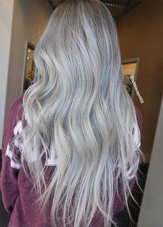 Granny Silver/ Grey Hair Color Ideas: Silver Melt Granny Hair