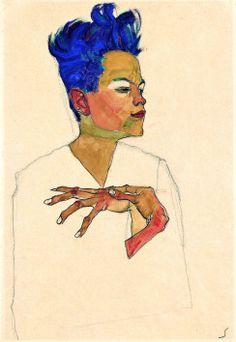 Egon Schiele - Self Portrait, a protege of Gustav Klimt. My favourite self-portrait of all time! Gustav Klimt, Desenho Pop Art, Franz Kline, Willem De Kooning, Art Moderne, Henri Matisse, Figurative Art, Oeuvre D'art, Les Oeuvres