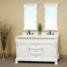 "Bellaterra Home 205060-D-WH - 60"" Double Sink Bathroom Vanity-Wood-White"