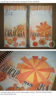 Orange Art journal page by Michelle Ward